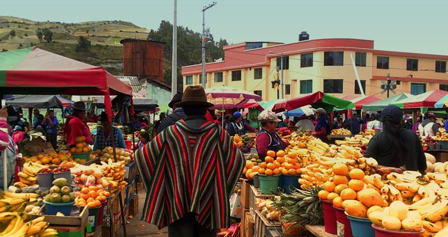 An outdoor market in Ecuador